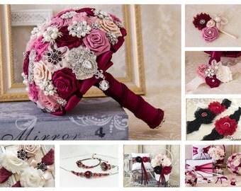Bridal Brooch Bouquet, Wine and Blush  Bridal Bouquet, Wedding Bouquet, Bridal Accessories, Bridesmaids Flowers