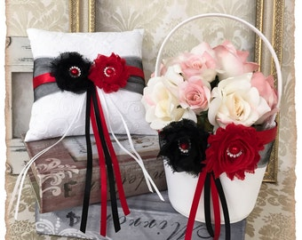 Red and Black Wedding Flower Girl Basket Set and Ring Bearer Pillow