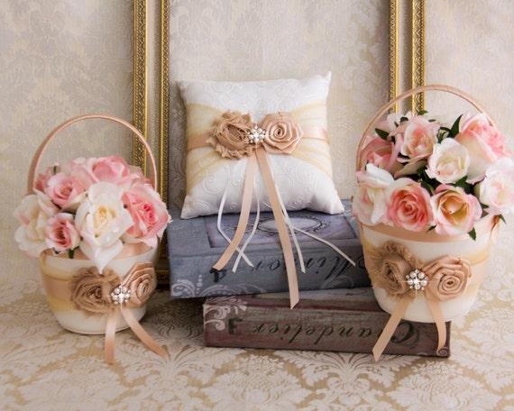Gold Wedding Flower Girl Basket And Ring Pillow Set Blush Wedding