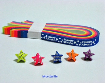"""Pack of 200 Strips Mini Size Luminous Hot-Stamping Lucky Stars Origami Paper Kits. """"Happy Always"""" 24.5cm x 1.0cm. #HS112. (HS paper series)."""
