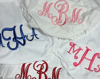 Pick 4 Monogrammed Diaper Covers Bloomers Size 0-6-12-18-24-2T-3T-4T White Diaper Cover
