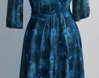 Vintage 1970's Green and Blue Flora, Belted Key Hole Dress