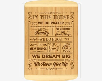 Family Rules Wood Cutting Board