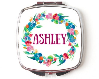 Personalized Compact Mirror - Floral Watercolor Wreath Personalized Bridesmaids Gifts - Personalized Purse Mirror