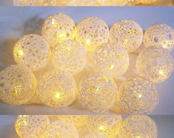String  LED Lights,  Fairy Lights, Holiday Lights, Party Lighting, Bedroom Decor lamps,  40 Lace Crocheted balls, garland light