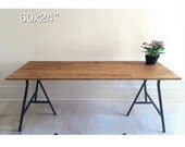 60x24 Large Wood Desk in Early American Stain Color, Table on Ikea Legs.