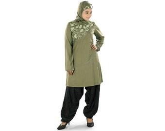 MyBatua Women's Designer Lamiah Tunic | Trendy Green Rayon Kurtis | Blouse Online | Traditional Tops | Islamic Clothing KRF-0117