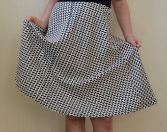 SALE!!! Marked down- Black and white geometric print twirl skirt! S/M