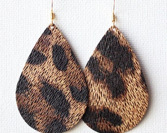 Leopard Leather Tear Drop Earrings