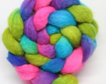 Hand Dyed BFL Wool Roving - Faerie's Garden- 100% BFL  roving spinning fiber, combed top