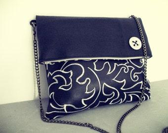 Black Foldover Clutch bag - crossbody