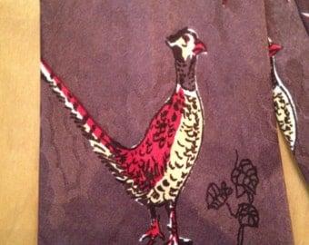 Gorgeous 1940s Brocade/Pheasant Print Silk Tie