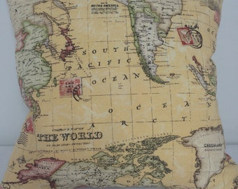 World map atlas cushion cover, world map pillow case