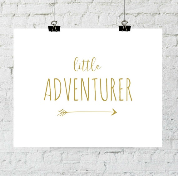 Little Adventurer Printable Nursery Art Adventure Print Nursery Art Print Gold Poster Yellow Nursery Decor Digital Download Printable