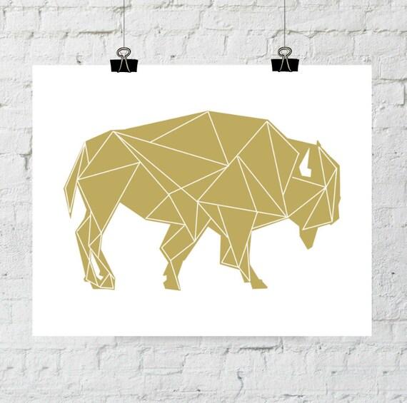 Buffalo Art, Buffalo Wall Art, Gold Buffalo Prints, Buffalo Wall Prints, Geometric Print, Digital Animal Wall Prints, Tribal Art Prints