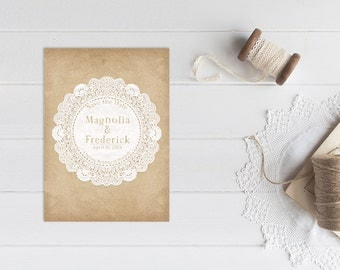 Rustic Chic Save The Date Cards for Rustic Chic Weddings / PRINTED 5x7 Save-The-Date Card / Vintage Doily Antique Doilies