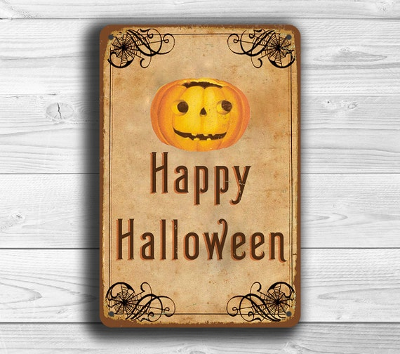 HAPPY HALLOWEEN SIGN Vintage style Halloween Signs Happy