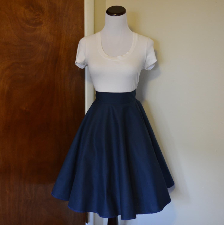 navy blue circle swing skirt