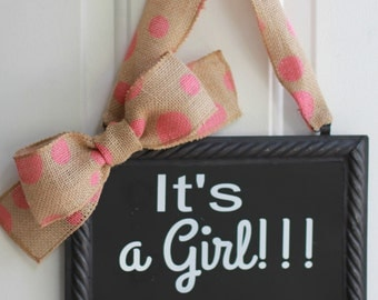 It's a Girl Sign Hanging Painted or Chalkboard Pink Polka Dot Baby Shower Gender Reveal Decoration