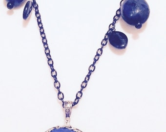 blue and black rose cameo pendant necklace