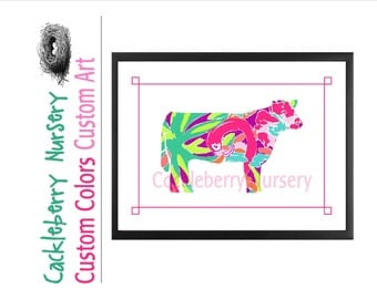 Livestock Show, Stock Show Gift, Show Heifer, Show Steer, Stock Show Life,  Lily Pulitzer Inspired, Showmanship, Cow Print Cow Art Barn Art