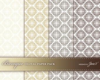 DIY Printable Wedding Paper Pack | Digital  Paper Download | Pattern Printable | Instant Download | Baroque in Cocoa, Mocha, Golden, Ivory