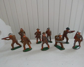 WWI Toy Soldiers - Cast Metal - Vintage Army Men - Hand Painted WWI Collectible - Militaria Army Men - Set of Nine WWI 1940s Toy Soldiers