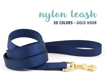 Nylon Leash with GOLD HOOK // 20 Colors // Choose Your Color, Width & Size // Basic Dog Lead