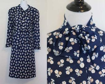 Vintage 1970s Navy Blue Floral Dress