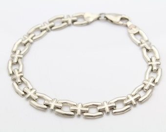 "Italian Sterling Silver Punched Chain Brick Link Bracelet 7"". [6081]"