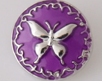 KB7851 Silver Butterfly on Purple Enamel Backgrouns
