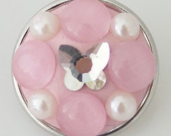 NEW! KB2434 4 Raised Round Pink Crystal Petals Set with Large Seed Pearls w/Silver Butterfly Center!