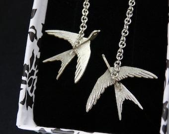 Swallows - Sterling Silver 3D Earrings