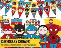 Superhero baby shower package, inspired by Captain America, Flashman, Batman, Spiderman and Superman- Superhero decor - Printable PDF files.