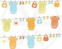 Baby clothesline clipart pack - Neutral gender baby clothesline images with baby bodysuits, bibs and socks -Clothesline clip art -PNG images