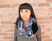 Custom listing(ET)- Fox and Friends Infinity Scarf Zipper Pocket, pocket scarf, travel scarf, accessories, sugar glider pouch, bonding pouch