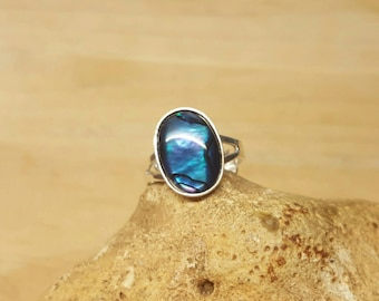 Sterling silver Blue Abalone ring. Blue Paua shell ring. Reiki jewelry uk. Adjustable ring