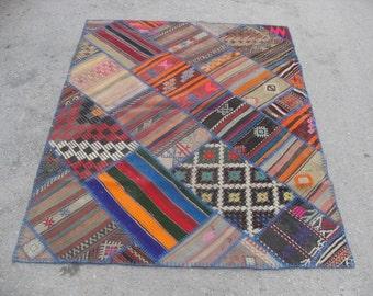 "kilim rug patchwork free shipping VINTAGE PATCHWORK KILIM rug size = 56"" X 72"" ( 140 cm X 180 cm )"