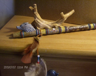 Native American Inspired Peace Pipe Wolf