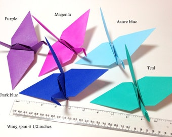 LARGE Origami Paper Cranes, Baby Nursery Origami, Origami Garlands, Origami Photo Backdrop, Origami Wall Mural, Bright Color Origami Cranes