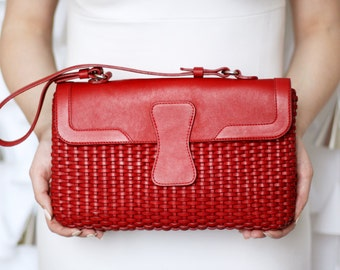Free shipping! Red leather bag, red bag, red woman bag, leather handbag, red handbag, leather bag red, red purse, red leather purse