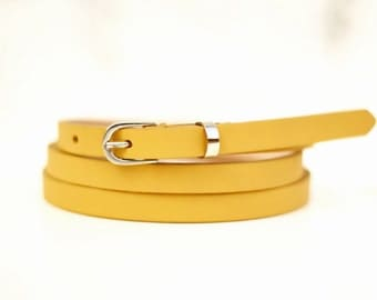 Free shipping! Leather belt, woman belt, yellow belt, yellow leather belt, skinny belt, waist belt, narrow belt, thin belt