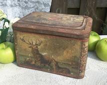 Rare Antique Colman Mustard Tin Litho Box, Stag, Hound, Deer Dog Hunt, Decorative, Advertising Canister, kitchen storage decor, spice