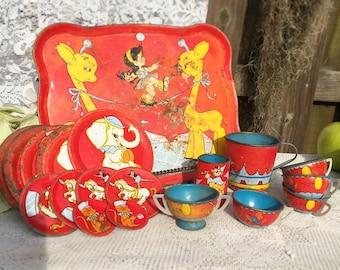 20 pc Antique Tin Litho Circus Tea party set, Ohio art, elephant, tightrope, tray cup plate saucer, retro, kid, children, nursery décor