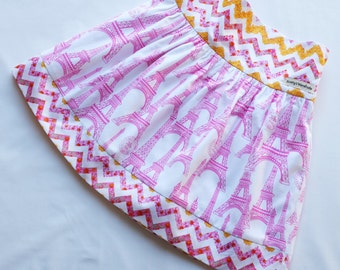Pink Paris & Floral Chevron Skirt - with adjustable waist and fully lined by ScottysWardrobe