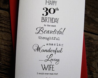 Designer Typography Birthday Card Size: A6 15x10.5cm Wife Husband Boyfriend Girlfriend Soulmate Fiancé Simple Love Deco 30th 40 50