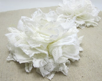 3 15/16 Inches Pleated Lace Flower|White Lace Flower Applique|Hair Supplies|Decorative Flower|Scrapbook Embellishment