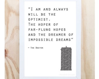 Illustrated Art Print Dr Who Quote  Digital Printable Instant Download Room Decor Tardis