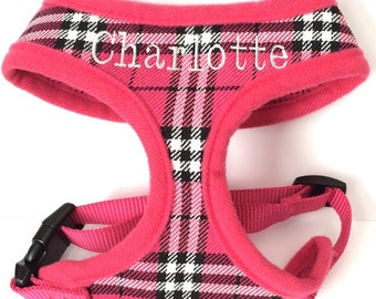 Personalized Plaid Soft Dog Harness with Name Custom Embroidered
