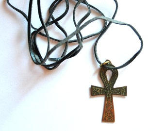 Anch Pendant, Egyptian Cross of Life - Vintage Amulet Necklace - Protection Amulet, Occult Jewelry